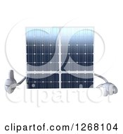 Clipart Of A 3d Solar Panel Character Giving A Thumb Up Over A Sign Royalty Free Illustration