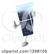 Clipart Of A 3d Solar Panel Character Giving A Thumb Up Around A Sign Royalty Free Illustration