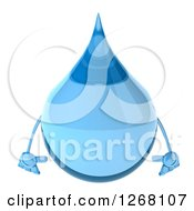 Clipart Of A 3d Water Droplet Character Royalty Free Illustration