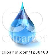 Clipart Of A 3d Water Droplet With An African Map Royalty Free Illustration by Julos