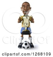 Clipart Of A 3d Black Brazilian Soccer Player Holding A Trophy Royalty Free Illustration