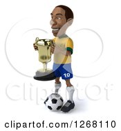 Clipart Of A 3d Black Brazilian Soccer Player Facing Left And Holding A Trophy Royalty Free Illustration