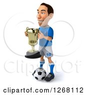 Clipart Of A 3d White Male Italian Soccer Player Holding A Trophy And Facing Left Royalty Free Illustration