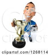 Clipart Of A 3d White Male Italian Soccer Player Holding A Trophy And Ball Royalty Free Illustration