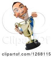 Clipart Of A 3d White Male Italian Soccer Player Holding A Trophy Around A Sign Royalty Free Illustration