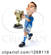 Clipart Of A 3d White Male Italian Soccer Player Running With A Trophy Royalty Free Illustration