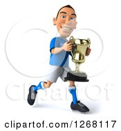 Clipart Of A 3d White Male Italian Soccer Player Running With A Trophy 2 Royalty Free Illustration