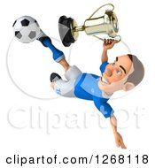 Clipart Of A 3d White Male Italian Soccer Player Kicking And Holding A Trophy Royalty Free Illustration