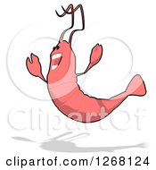 Clipart Of A Cartoon Happy Jumping Pink Shrimp Royalty Free Illustration by Julos
