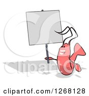Clipart Of A Cartoon Pink Shrimp Holding Up A Blank Sign Royalty Free Illustration by Julos