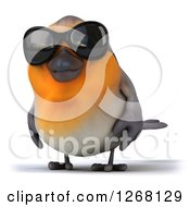 Clipart Of A 3d Red Robin Bird Wearing Sunglasses Royalty Free Illustration
