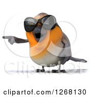 Clipart Of A 3d Red Robin Bird Wearing Sunglasses And Pointing Left Royalty Free Illustration