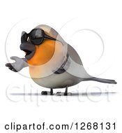 Clipart Of A 3d Red Robin Bird Wearing Sunglasses And Shrugging To The Left Royalty Free Illustration