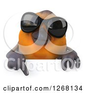 Clipart Of A 3d Red Robin Bird Wearing Sunglasses And Pointing Down Over A Sign Royalty Free Illustration