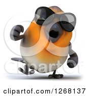 Clipart Of A 3d Red Robin Bird Wearing Sunglasses And Walking Royalty Free Illustration