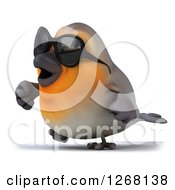 Clipart Of A 3d Red Robin Bird Wearing Sunglasses And Walking 2 Royalty Free Illustration