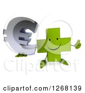 Clipart Of A 3d Happy Green Pharmaceutical Cross Character Holding A Thumb Up And Euro Symbol Royalty Free Illustration by Julos