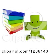Clipart Of A 3d Happy Green Pharmaceutical Cross Character Holding A Stack Of Books Royalty Free Illustration by Julos