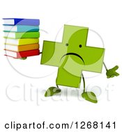 Clipart Of A 3d Unhappy Green Pharmaceutical Cross Character Holding A Stack Of Books Royalty Free Illustration by Julos