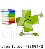 Clipart Of A 3d Unhappy Green Pharmaceutical Cross Character Holding Up A Finger And A Stack Of Books Royalty Free Illustration by Julos