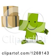 Clipart Of A 3d Happy Green Pharmaceutical Cross Character Holding Boxes Royalty Free Illustration by Julos
