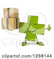 Clipart Of A 3d Happy Green Pharmaceutical Cross Character Holding Boxes And A Thumb Up Royalty Free Illustration by Julos