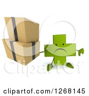 Clipart Of A 3d Unhappy Green Pharmaceutical Cross Character Holding Boxes And A Thumb Down Royalty Free Illustration by Julos