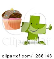 Clipart Of A 3d Happy Green Pharmaceutical Cross Character Holding A Chocolate Frosted Cupcake And Thumb Up Royalty Free Illustration by Julos