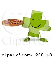 Clipart Of A 3d Happy Green Pharmaceutical Cross Character Holding A Pizza Royalty Free Illustration by Julos