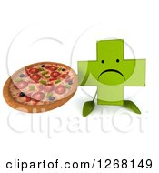 Clipart Of A 3d Unhappy Green Pharmaceutical Cross Character Holding A Pizza Royalty Free Illustration by Julos