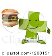 Clipart Of A 3d Happy Green Pharmaceutical Cross Character Holding A Double Cheeseburger Royalty Free Illustration by Julos