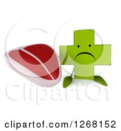 Clipart Of A 3d Unhappy Green Pharmaceutical Cross Character Holding A Beef Steak Royalty Free Illustration by Julos