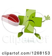Clipart Of A 3d Unhappy Green Pharmaceutical Cross Character Jumping And Holding A Beef Steak Royalty Free Illustration by Julos