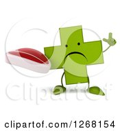 Clipart Of A 3d Unhappy Green Pharmaceutical Cross Character Holding Up A Finger And A Beef Steak Royalty Free Illustration by Julos