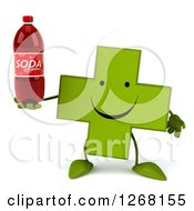 Clipart Of A 3d Happy Green Pharmaceutical Cross Character Holding A Soda Bottle Royalty Free Illustration