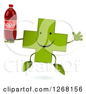 Clipart Of A 3d Happy Green Pharmaceutical Cross Character Jumping And Holding A Soda Bottle Royalty Free Illustration