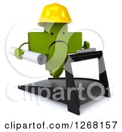Clipart Of A 3d Unhappy Green Pharmaceutical Cross Contractor Character Running With Plans On A Treadmill Royalty Free Illustration by Julos