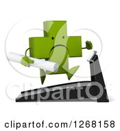 Clipart Of A 3d Unhappy Green Pharmaceutical Cross Character Running With Plans On A Treadmill Royalty Free Illustration by Julos