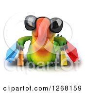 Clipart Of A 3d Green Parrot Wearing Sunglasses And Carrying Shopping Bags Royalty Free Illustration