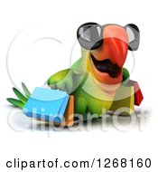 Clipart Of A 3d Green Parrot Wearing Sunglasses And Carrying Shopping Bags 2 Royalty Free Illustration