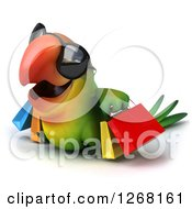 Clipart Of A 3d Green Parrot Wearing Sunglasses And Carrying Shopping Bags 3 Royalty Free Illustration