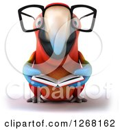 Clipart Of A 3d Bespectacled Macaw Parrot Reading A Book Royalty Free Illustration