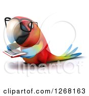 Clipart Of A 3d Bespectacled Macaw Parrot Reading A Book 2 Royalty Free Illustration