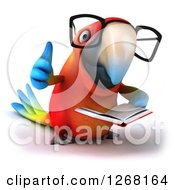 Clipart Of A 3d Bespectacled Macaw Parrot Reading A Book And Giving A Thumb Up Royalty Free Illustration