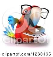 Clipart Of A 3d Bespectacled Macaw Parrot Reading A Book And Giving A Thumb Down Royalty Free Illustration