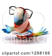 Clipart Of A 3d Bespectacled Macaw Parrot Presenting And Reading A Book Royalty Free Illustration by Julos