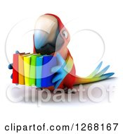 Clipart Of A 3d Macaw Parrot Carrying A Stack Of Books Royalty Free Illustration by Julos