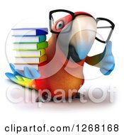Clipart Of A 3d Bespectacled Macaw Parrot Holding A Stack Of Books And Thumb Up Royalty Free Illustration