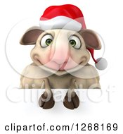 Clipart Of A 3d Happy Christmas Sheep Over A Sign Royalty Free Illustration by Julos
