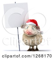 Clipart Of A 3d Happy Christmas Sheep By A Blank Sign Royalty Free Illustration by Julos